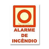 E2 Placa PVC Fotoluminescente Manual Alarme de Incêndio - 2 mm
